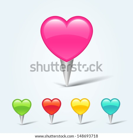 Set of colorful map pins with hearts - stock vector