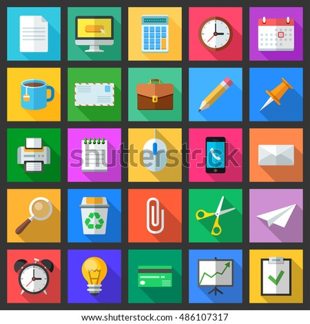 Set of colorful modern flat style icons with long shadows. Business, office and education icons collection.