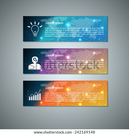 Set of Colorful Modern Text Box With Business Icon and Abstract Glowing Globe  Background Design, For Banner, Website, Brochure, Business Infographics, Vector Illustration - stock vector