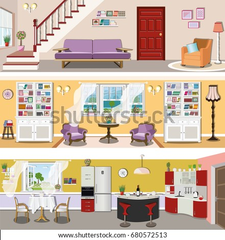 Set colorful modern vector interior design stock vector for Siti di interior design