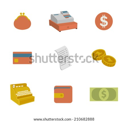 set of colorful money icons