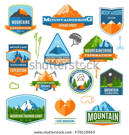 Set Of Colorful Mountaineering, Climbing, Camping And Trekking Vector Labels And logos. Modern Flat Design Vector Illustration