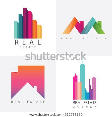 Set of colorful multicolored real estate logo designs for business visual identity. Houses and skyscrapers theme - stock vector