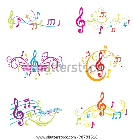 Set of Colorful Musical Notes Illustration - in vector - stock vector