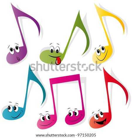 Set of colorful note smileys - stock vector