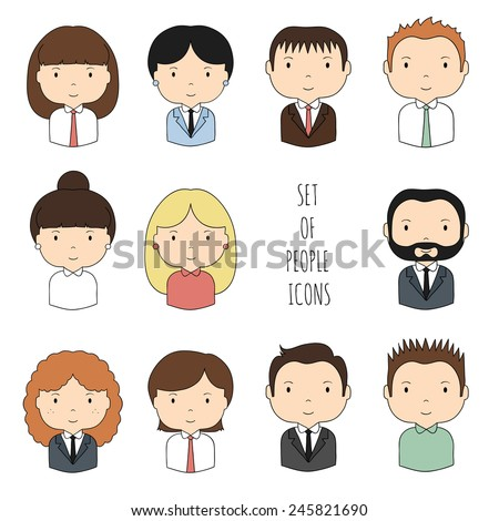Set of colorful office people icons. Businessman. Businesswoman. Funny cartoon hand drawn faces sketch for your design. Collection of cute avatar. Trendy doodle style. Vector illustration. - stock vector