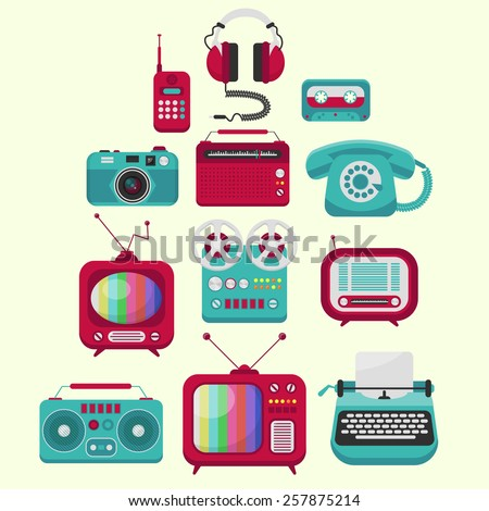 set of colorful old-fashion electronic devices - stock vector