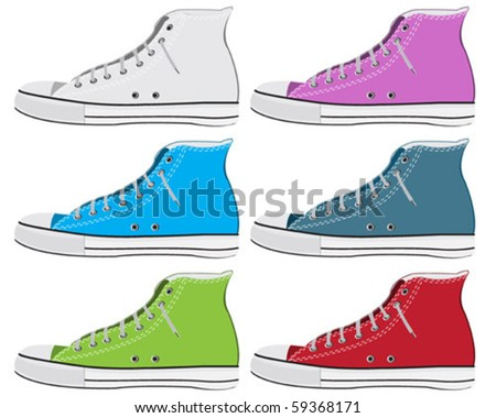Set of colorful old sneaker - stock vector
