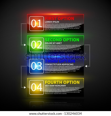 Set of 4 colorful options with numbers and glowing lights. - stock vector
