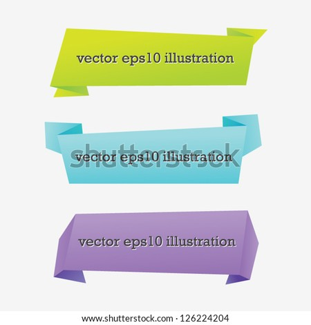 Set of Colorful Origami Banners - stock vector
