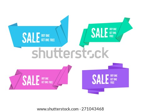 Set of colorful Origami paper ribbons for sale.Fold paper. Vector flat banner design for advertising wit space for text - stock vector