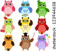 Set of Colorful Owls with different characters - stock photo