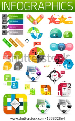 Set of colorful paper infographic design elements - stock vector