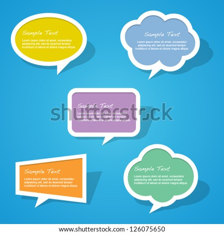 Set of Colorful Paper Speech Bubbles - stock vector