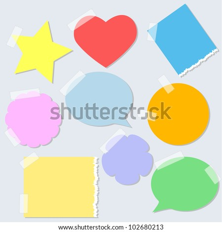 Set of colorful paper stickers with tape