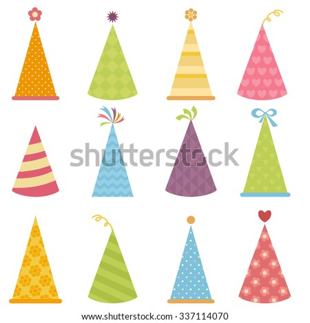 Set of colorful party hats - stock vector