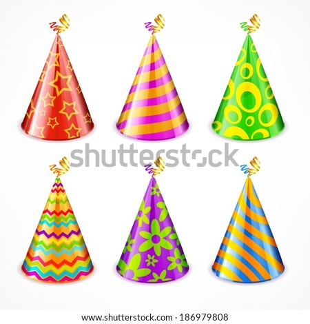Set of colorful party hats with decorations on white, vector illustration - stock vector