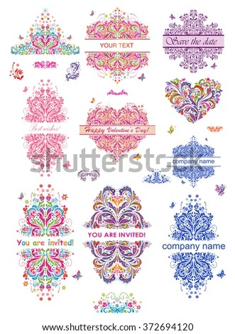 Set of colorful party labels - stock vector