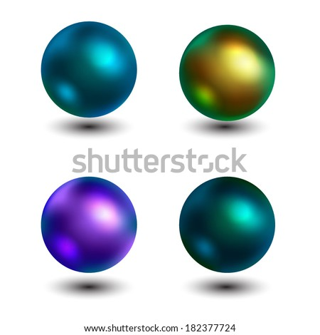 Set of colorful pearls. Vector illustration.