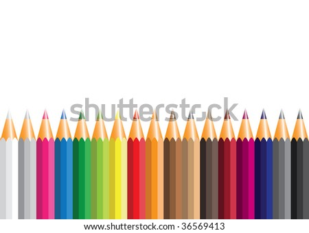 Set of colorful pencils on white background with the space for your text above them - stock vector