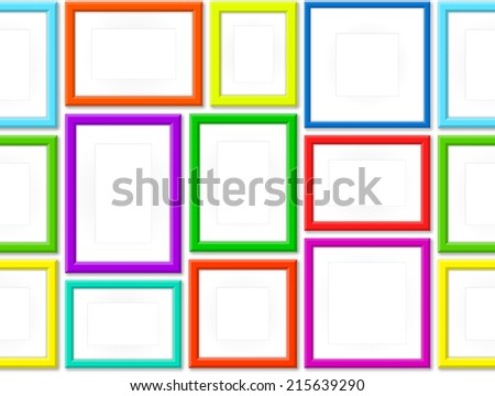 Set Of Colorful Photo Frames. Seamless Background - stock vector