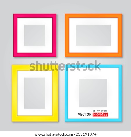 Set Of Colorful Picture Frames. Vector Illustration - stock vector