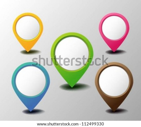 Set of colorful pins Eps10 - stock vector