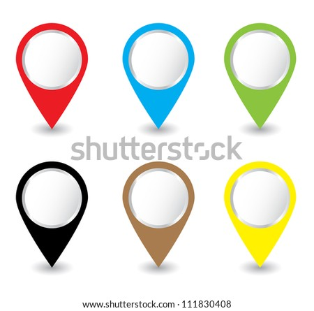 Set of colorful pins Vector - stock vector
