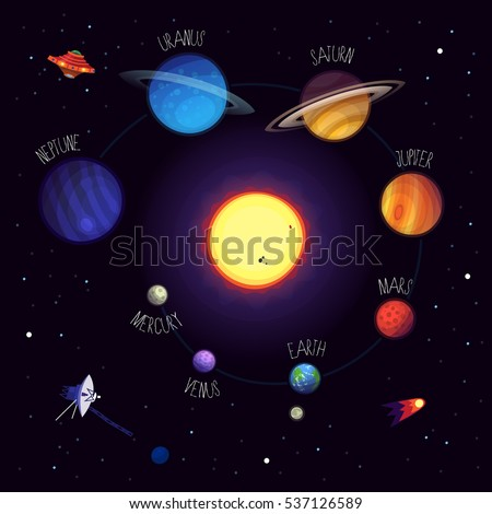 Set Colorful Planets Names Cosmic Elements Stock Vector ...