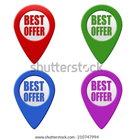 Set of colorful pointers with text best offer on white background, vector illustration