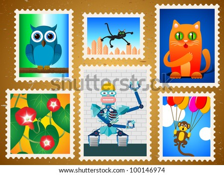 Set of colorful postage stamps - stock vector