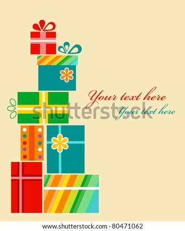 Set of colorful present boxes . birthday card template - stock vector