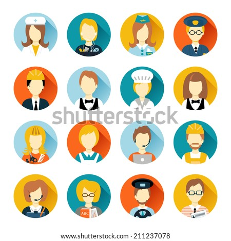 Set of colorful profession people flat style icons in circles with long shadows vector illustration - stock vector