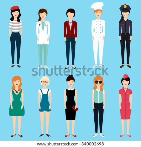 Set of colorful profession woman flat style: businesswoman, doctor, artist, designer, cook, police, teacher, stewardess, admin. Vector illustration.