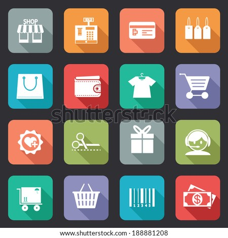 Set of colorful purchase icons in flat style on web buttons showing a store  till  bankcard  tags  bag  wallet  fashion  trolley  scissors  gift  call centre   delivery  basket  bar code  and dollars - stock vector