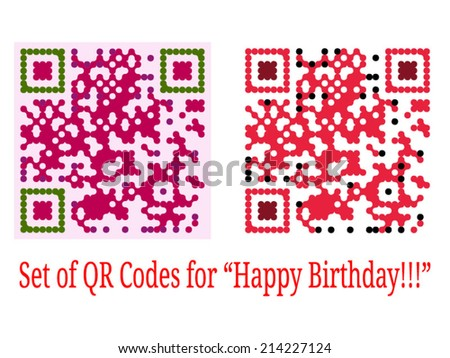 Set of colorful QR Codes