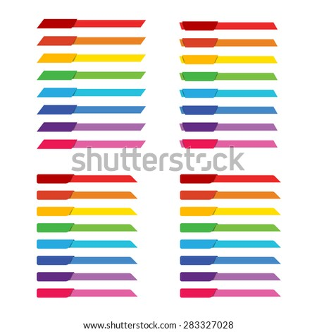 Set of colorful rainbow tag banner for header decoration vector illustration