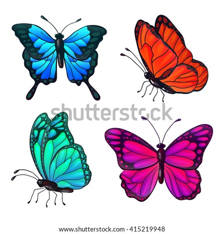 Set of Colorful Realistic Butterflies. Vector illustration - stock vector