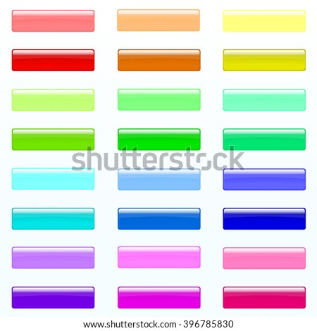 Set of colorful rectangle buttons (red, orange, yellow, green, blue, violet, tortoise, pink colors). Glossy shine design elements. Multicolored illustration for web or typography - stock vector