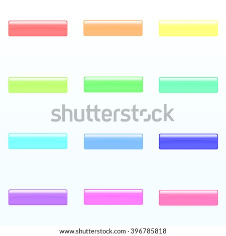 Set of colorful rectangle buttons (red, orange, yellow, green, blue, violet, tortoise, pink light colors). Glossy shine design elements. Multicolored illustration for web or typography - stock vector