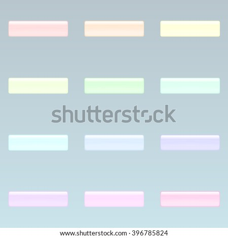Set of colorful rectangle buttons (red, orange, yellow, green, blue, violet, tortoise, pink pale colors). Glossy shine design elements. Multicolored illustration for web or typography - stock vector