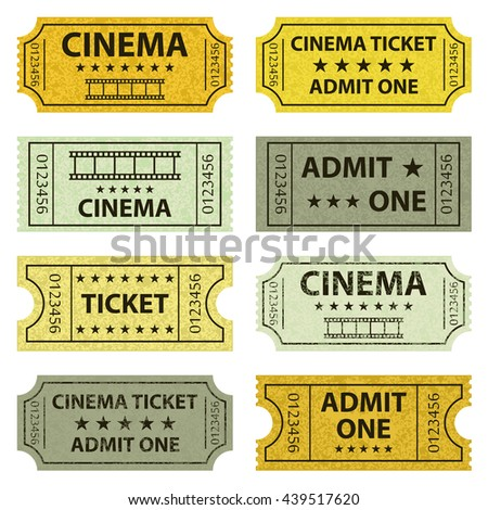 Set of colorful retro cinema tickets on the white background.