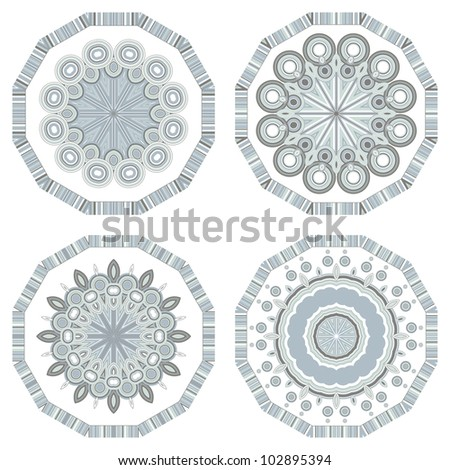 Set of colorful retro round ornament, mosaic vector illustration - stock vector