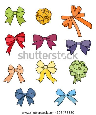 Set of colorful ribbon bows - stock vector