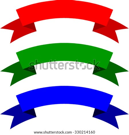 Set of colorful ribbons isolated on white background. Red, green and blue