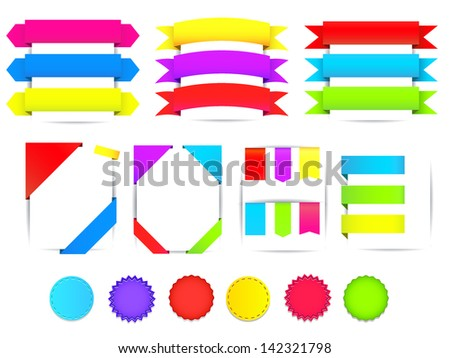 Set of colorful ribbons, tags and badges. Vector - stock vector