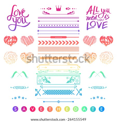 Set Of Colorful Romantic Elements For A Wedding Invitation With Doodle Sketches And Calligraphic Design Hearts