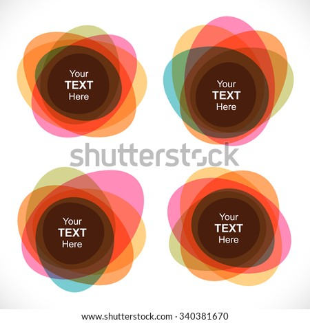 Set of colorful round abstract layered banners. - stock vector