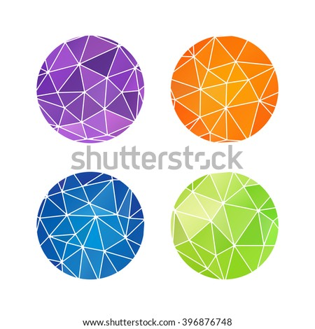 Set of colorful round logos. Geometric element. Disco ball sign. Planet illustration. Consellation image. Connected lines. Space elements.Gemstones image. Jewelry store emblem.