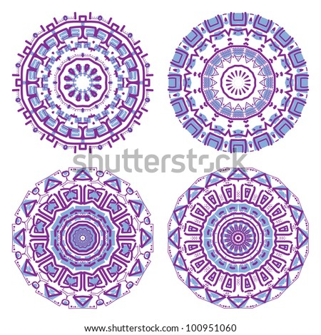 Set of colorful round ornament, mosaic vector illustration - stock vector